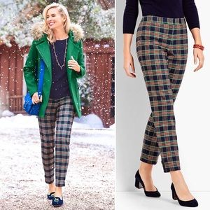 Talbots Traditional Plaid Straight Ankle Pant 16